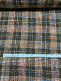 Italian Boucle Plaid Wool-Like Suiting - Brown / Multicolor