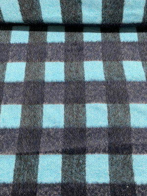 Italian Buffalo Plaid Mohair-Like Wool Coating - Teal / Navy / Grey
