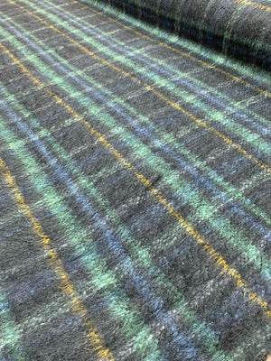 Italian Plaid Mohair Blend Wool Coating - Navy / Mint / Mustard