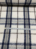 Italian Plaid Mohair Wool-Like Coating - Ivory / Navy / Brown