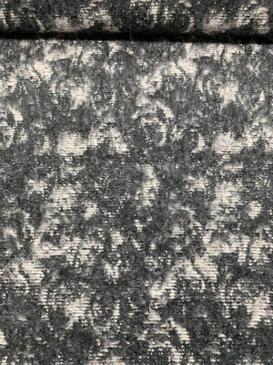 Italian Abstract and Striped Mohair with Silver Lurex Wool-Like Coating - Dark Grey / Ivory