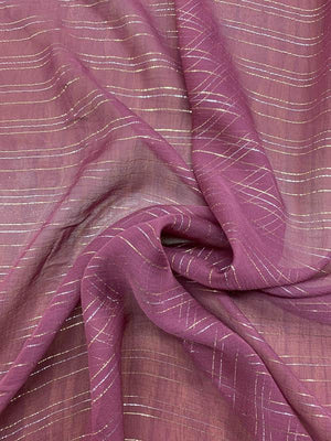 J Mendel Italian Lurex Striped Crinkled Silk Chiffon - Berry Purple / Burgundy