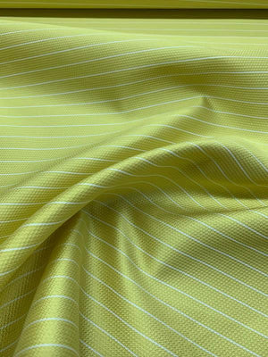 Christian Siriano Italian Striped Fused  Silk & Poly - Yellow / White