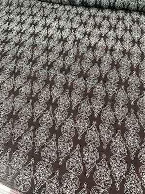 Royal Ornament Printed Silk Chiffon - Black / White