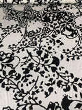Abstract Leaves and Branches Printed Silk Charmeuse - Black / White