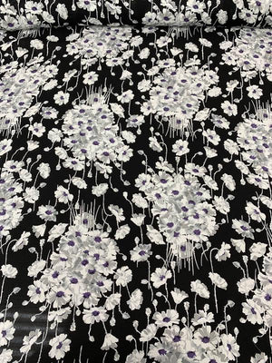 Floral Bouquets Printed Silk Georgette - Black / White / Grey / Purple