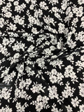 Floral Printed Silk Georgette - Black / White