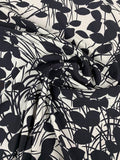 Italian Leaves and Stems Silhouette Matte-Side Printed Silk Charmeuse - Black / White