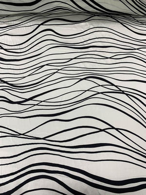 Wavy Striations Printed Silk Charmeuse - Black / White