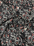 Multisize Arrows Printed Satin-Finished Silk Georgette - Black / White / Red