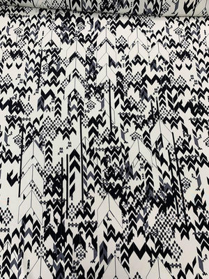 Multisize Arrows Printed Silk Crepe de Chine - Ivory / Black / Grey