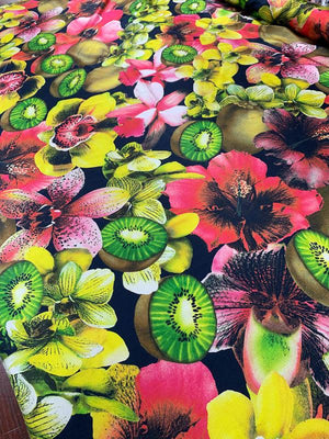 Italian Tropical Fruits and Flowers Printed Satin-Finish Silk Chiffon - Multicolor