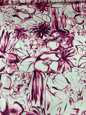 Brushstroke Floral Printed Silk Charmeuse - Magenta / Pink / White