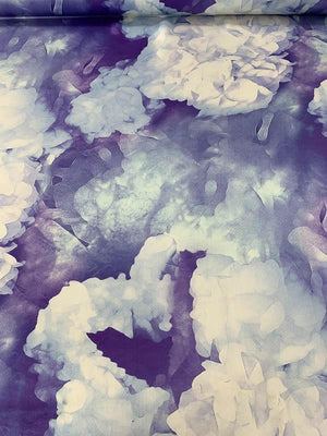 Watercolor Floral and Alcohol-Ink Printed Satin Silk Chiffon - Purple / Blue / White