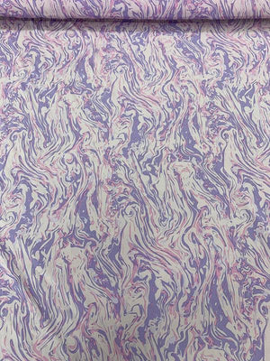 Marble Striations Printed Silk Crepe de Chine - Purple / Lilac / Pink
