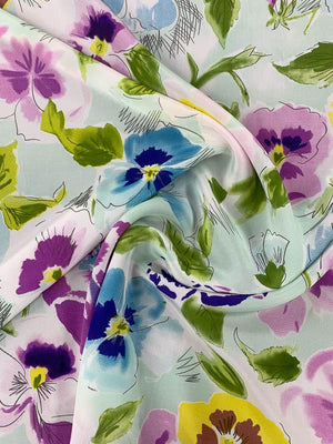 Watercolor Floral Printed Silk Crepe de Chine - Multicolor