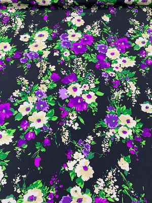 Floral Printed Silk Crepe de Chine - Magenta / Black / Tan / Green