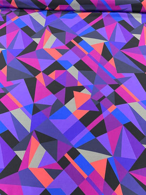 Geometric Matrix Printed Silk Crepe de Chine - Purple / Blue / Magenta / Black