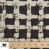 Checkered Geometric Wool Crepe - Grey/Cream - Fabrics & Fabrics NY