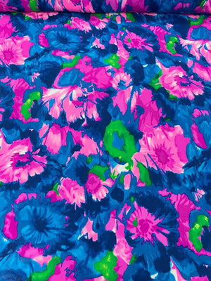 Floral Printed Silk Georgette - Magenta / Blue / Green