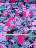Abstract Floral Printed Silk Crepe de Chine - Magenta / Black / Aqua