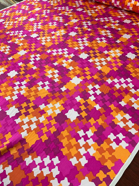 Geometric Matte-Side Mosaic Printed Silk Charmeuse - Magenta / Orange / White