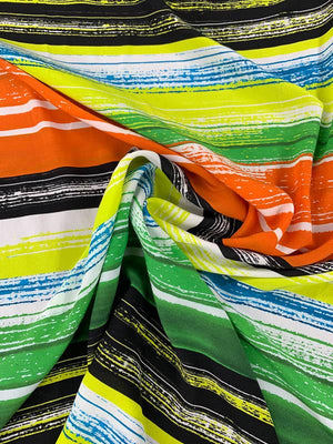 Brushstroke Striped Printed Silk Crepe de Chine - Multicolor