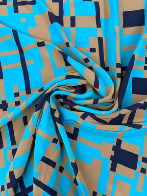 Abstract Art Deco Printed Silk Crepe de Chine - Turquoise / Navy / Mocha