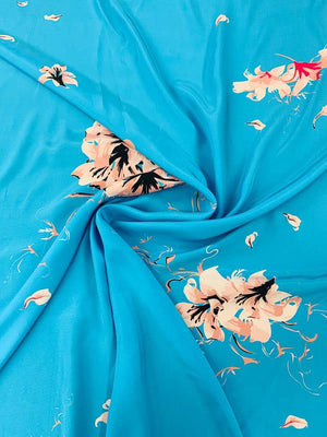 Floral Matte-Side Printed Silk Charmeuse - Blue / Pink