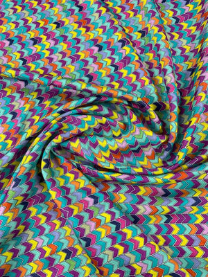 Italian Chevron Arrows Printed Light-Weight Satin Silk Chiffon - Multicolor