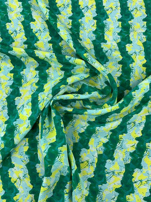 Painterly Striped Printed Silk Crepe de Chine - Green / Light Blue / Yellow