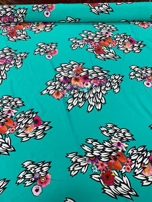Floral Matte-Side Printed Stretch Silk Charmeuse - Seafoam / Pink / White / Black