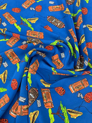African Treasure Printed Silk Crepe de Chine - Blue / Multicolor