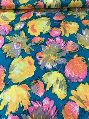 Painterly Floral Printed Silk Twill - Teal / Yellow / Pink