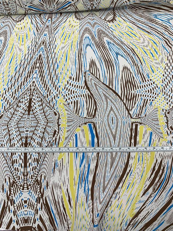 Abstract Printed Silk Crepe de Chine - Brown / Blue / Yellow / White