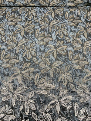Floral Metallic Brocade - Gold / Silver / Grey / Brown