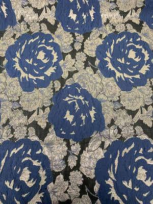 Bold Floral Brocade - Blue / Metallic Beige / Black