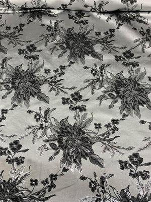 Italian Floral Textured Metallic Brocade - Grey / Silver / Black
