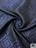 Geometric Art Deco Textured Brocade - Blue / Metallic Black