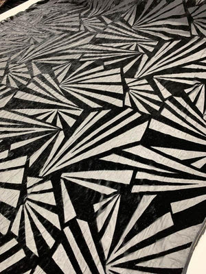 Italian Bold Art Deco Geometric Burnout Velvet - Black