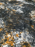 Tie-Dye Paisley Patchwork Collage Stretch Printed Burnout Velvet - Black / White / Rust