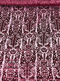 Damask-Style Burnout Velvet - Wine