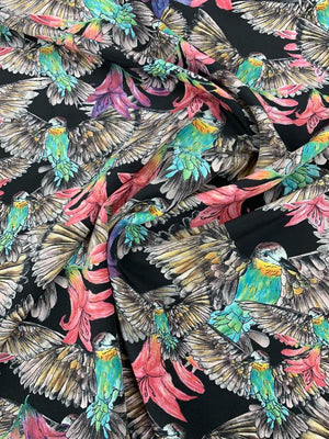 Flowers and Birds Tropical Printed Silk Crepe de Chine - Multicolor