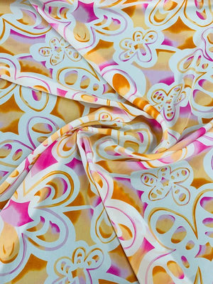 Groovy Floral Printed Silk Crepe de Chine - Orange / White / Pink