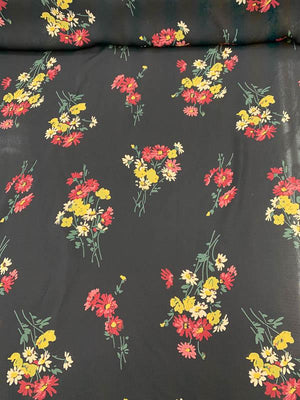 Floral Bouquets Printed Silk Georgette - Black / Maroon / Yellow