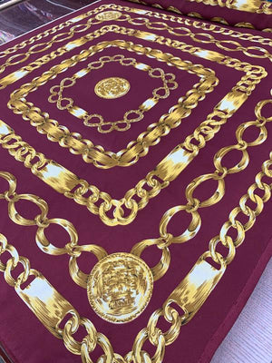 Oversize Chain Printed Silk Georgette Panel - Maroon / Gold
