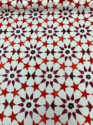 Stars Printed Silk Crepe de Chine - Red / Plum / White