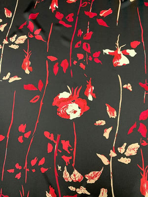 Floral Vines Printed Silk Charmeuse - Red / Black / White
