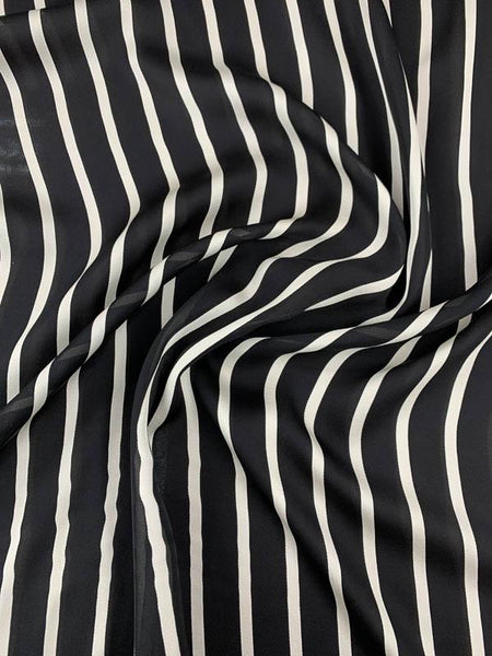 Striped Printed Silk Georgette - Black / White