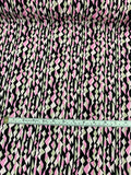 Art Deco Linear Pattern Printed Silk Crepe de Chine - Pink / Black / Taupe